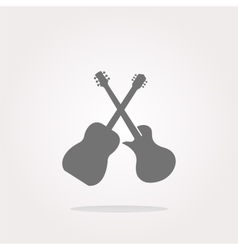 Guitar web icon button isolated on white vector