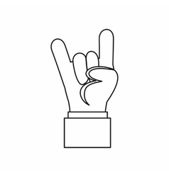 Rock and roll hand sign icon outline style vector