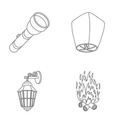 a flashlight an air lantern a lantern on the vector image vector image