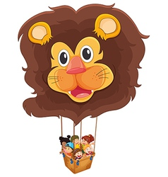 A lion floating balloon with kids vector image vector image