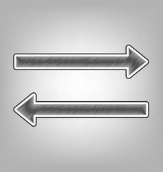 Arrow simple sign pencil sketch imitation vector