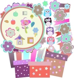 Background with owl flowers birds and gift boxes vector image vector image