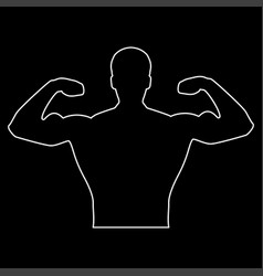 Bodybuilder the white path icon vector