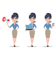 business woman set of three poses vector image vector image