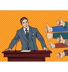 Businessman speaker business concept like dislike vector