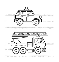 Cars coloring book for kids Firetruck police vector image