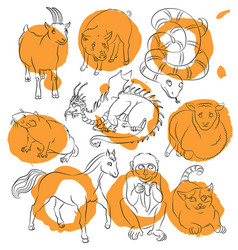 cat-dragon-goat-horse-monkey-pig-rat-sheep-snake vector image