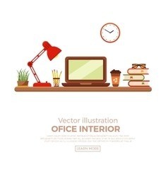 Colorful office desk closeup vector