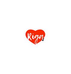 European capital city riga love heart text logo vector