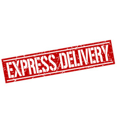 Express delivery square grunge stamp vector