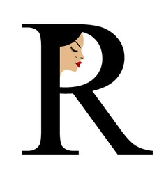 Faces in alphabet r- logo for skin tanning vector