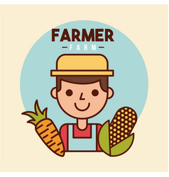 Farmer farm person flat vector