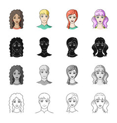 Girl brown hair and other web icon in cartoon vector
