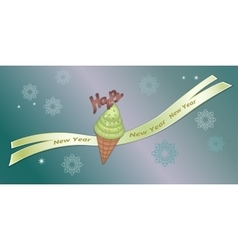 Greeting banner strawberry icecream with vector