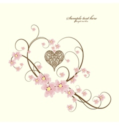 Greeting hanging heart vector image