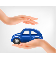 Hands holding a blue model car vector