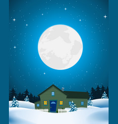 house in winter landscape vector image vector image