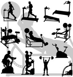 male exercise silhouettes vector image