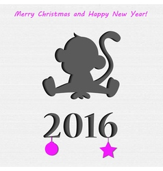 Monkey in paper Christmas card vector image