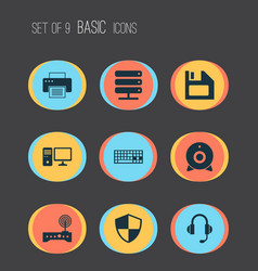 Notebook icons set collection of router database vector