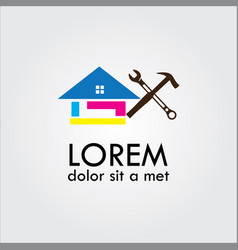 repair house logo colourful vector image vector image