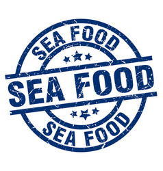 Sea food blue round grunge stamp vector