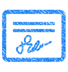 Signed cheque grunge icon vector