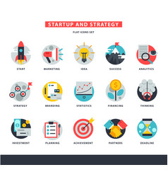 Startup business icons start up strategy vector