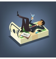Successful businessman drinking cocktail and vector