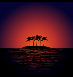 Tropical island at sunset vector