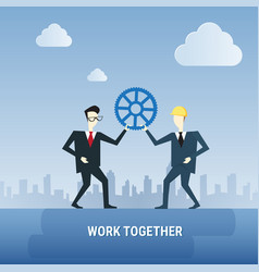 Two business men hold cog wheel work together vector
