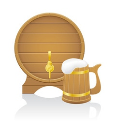 wooden beer mug and barrel vector image