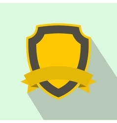Yellow shield with ribbon icon flat style vector