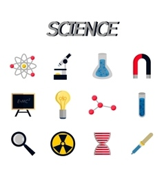 Science flat icon set vector image