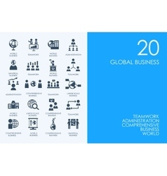 Set of blue hamster library global business icons vector