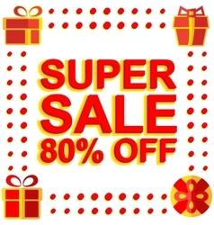 Big winter sale poster with super sale 80 percent vector