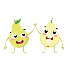 Pear cute fruit character couple isolated vector