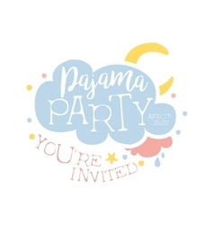 Girly Pajama Party Invitation Card Template With vector image
