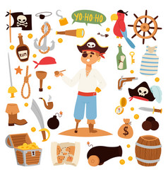 Pirate character design with icons vector