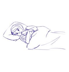 Ill girl in bed hand drawn sketch vector