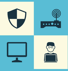 Digital icons set collection of desktop router vector