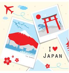 Japan view travel photo frame memory vector