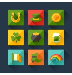 Saint Patricks Day icons in flat design style vector image