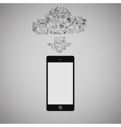 Touchscreen Smart Phone with Cloud of Media vector image