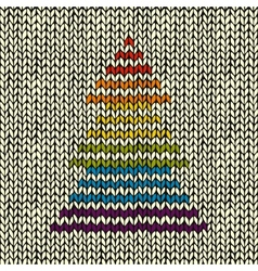 Seamless pattern with knitted christmas tree vector
