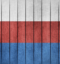 Wooden grunge flag of russia vector