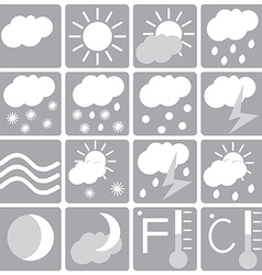 Weather icon set white and gray vector