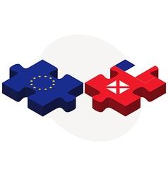 European Union and Wallis and Futuna Flags vector image