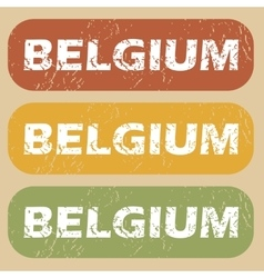 Vintage belgium stamp set vector