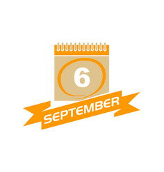 6 september calendar with ribbon vector